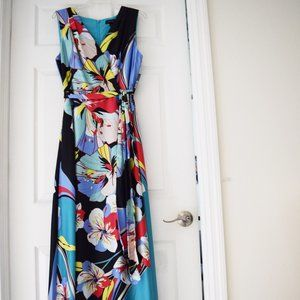 Tahari Sleeveless Printed Charmeuse Gown Size 14
